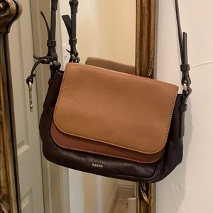 Fossil Brown Leather Preston Double Flap Crossbody